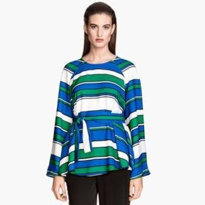 H&M Striped Jewel Toned Belted Swing Top